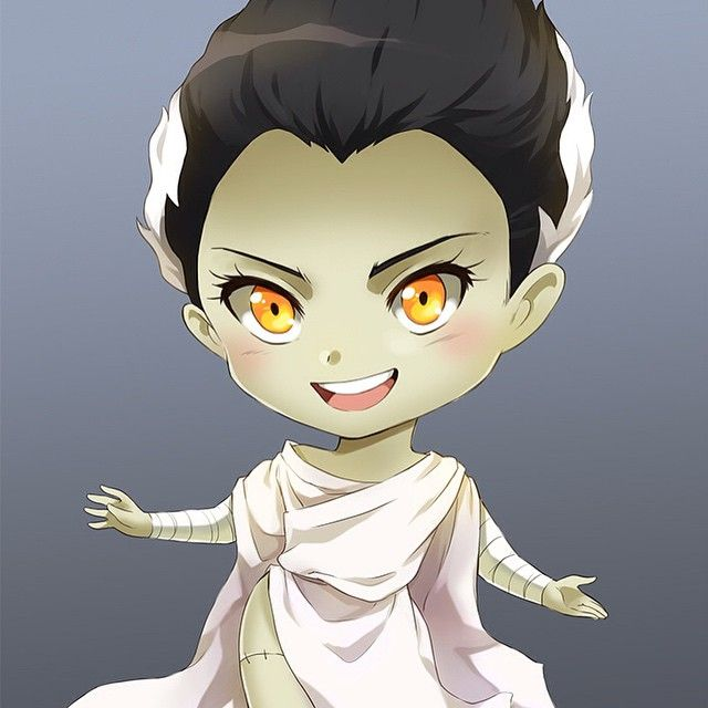 Bride of Frankenstein in full colour! #beautiful #bride #cardgame #kickstarter #tabletop #fairytale #chibi