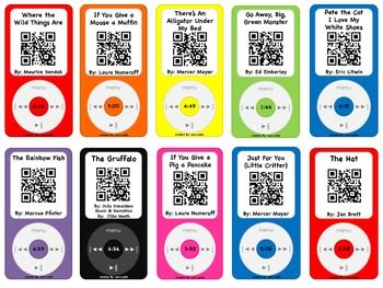 Listening Center with a Twist!  Student scan the QR Code and a story is read to them on their device.  Print, laminate and cut out for an easy center! Fun and Engaging!  Two other sets of 20 iPods can be found in my TpT Store.