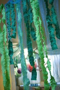 """seaweed tissue streamers..cute hanging from front door to carry guests """"under the sea."""""""