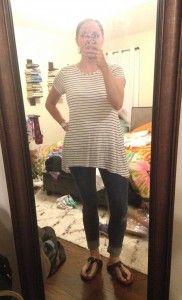 Black and white striped tee, skinny cuffed jeans, Birkenstocks