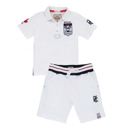 Boys' Tennis Stretch Pique Rugby Shirt & French Terry Shorts