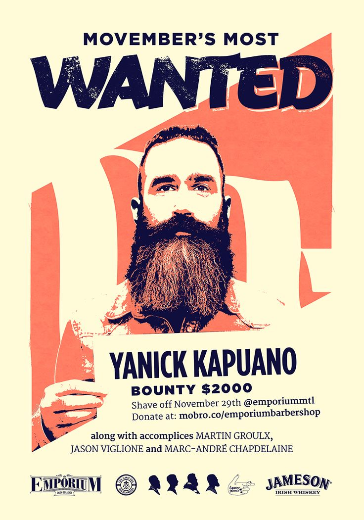 Movember wanted poster for Emporium Barber Shop in Montreal.  The campaign is focused at collecting donations as a bounty for shaving some of the areas most notorious beards and moustaches.