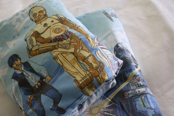oh , to have these  Vintage Star Wars Bed Sheet-Fitted Twin Size-1979