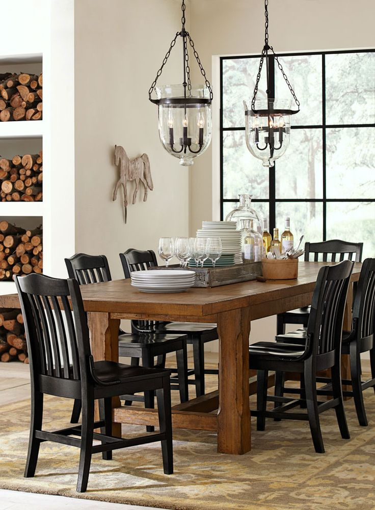 Rustic Lodge Like Black Chairs With Wood Table