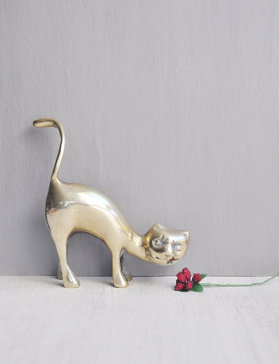 Vintage Brass Cat Figurine - solid metal figure by CuriosityCabinet #cat_lover #crazy_cat_lady #ring_holder