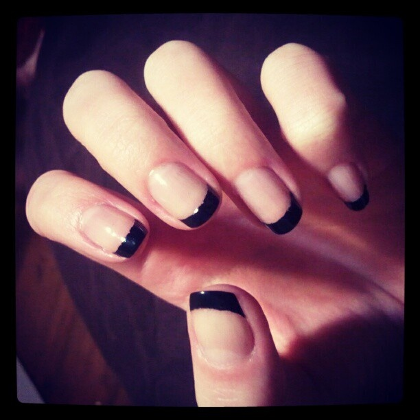 black and nude french manicure / nails