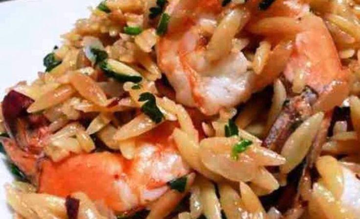 Κριθαράκι με γαρίδες και ούζο στο φούρνο!