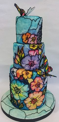 Hand Painted Wedding Cake Stained Glass