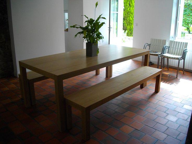 Table à manger et bancs en chêne massif. Mobilier sur mesure by L'Hirondelle. http://hirondelle37.com/ #menuiserielhirondelle #meubledesign #meublesurmesure #handmade #smile #photography #art #home #style
