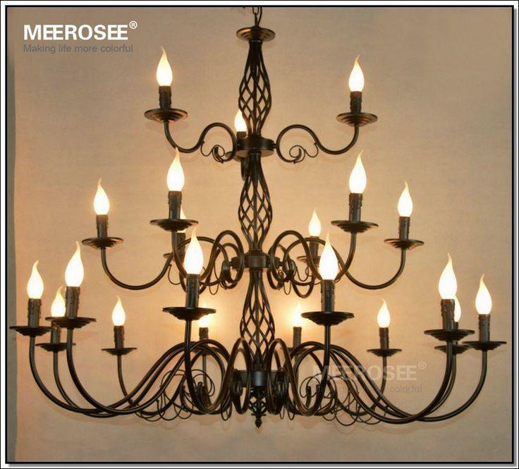 Goedkope Zwarte smeedijzeren kroonluchter lichtpunt moderne 21 lights suspension lamp vintage opknoping licht MD2562 nieuwe collectie drop lustre, koop Kwaliteit kroonluchters rechtstreeks van Leveranciers van China: