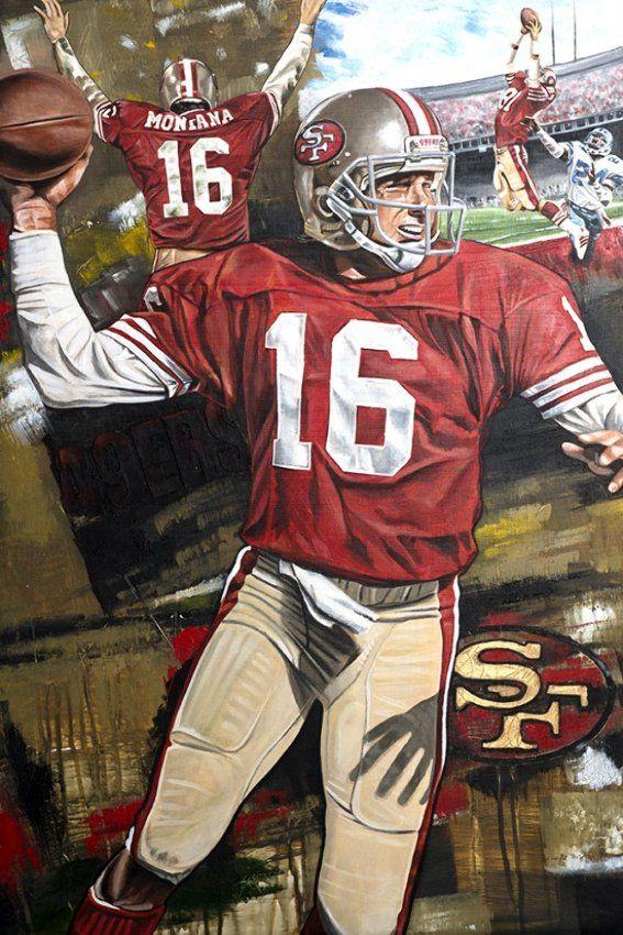 """""""Joe Montana, Joe Cool"""" SF 49ers , 25""""x35"""" acrylic painting by Joshua Jacobs, 2016"""
