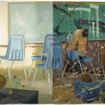 Grand Prairie School, 2011, flashe and acrylic on cut and pasted paper, 69(...)