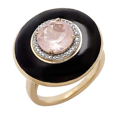 Pink Quartz Enamel Sterling Silver & 14K Yellow Gold Plate Ring