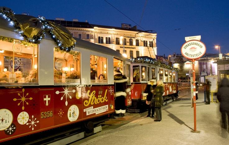 Vintage Tram with xmas theme in Vienna