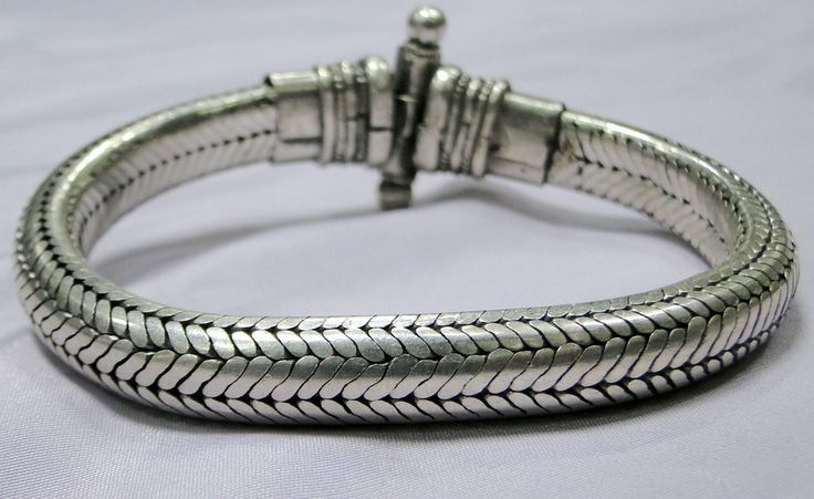 Ethnic Design silver rope chain half round bracelet jewelry-11105 - tribalexport