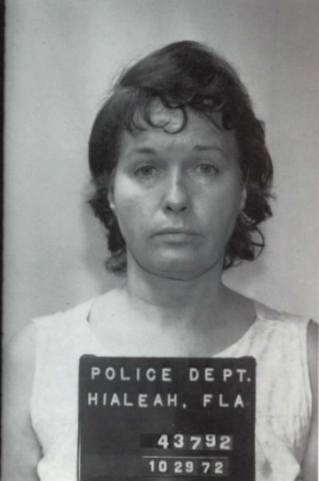"""""""Bettie Page mugshot, 1972"""" I wonder what the story is?    """"After Bettie left the pinup world she became a religious fanatic. Years later she was diagnosed as schizophrenic and eventually spent over 11 years in a state mental institution because she stabbed three people. A husband and wife the first time, and her 66 year old roommate the second time because she said """"God inspired her to do it""""."""""""