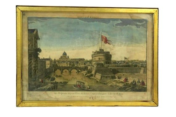 Antique View Of Rome Engraving Hand Colored Aquarelle Print Etsy