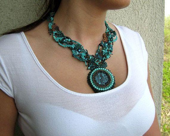 Beaded necklace Seed bead jewelry Art beadwork Freeform от ibics