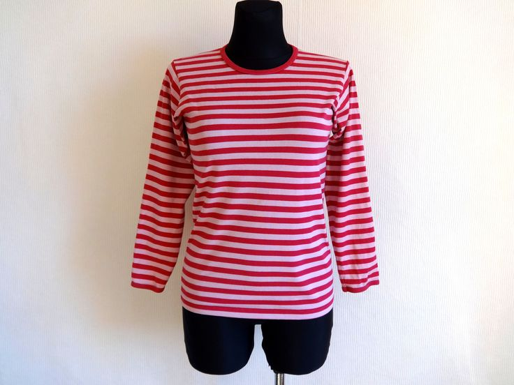 MARIMEKKO Pink Striped Cotton Jersey Shirt Nautical Top XS S Size Womens Clothing Vintage Marimekko Top Horizontal Stripes Made in Finland by Vintageby2sisters on Etsy