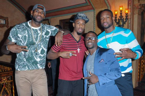 Lebron , D-Wade and Kevin Hart at Let Me Explain premiere in Miami