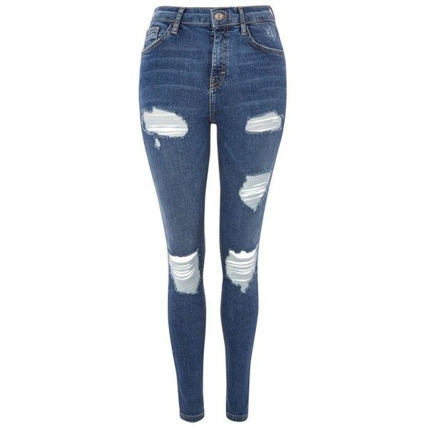 Women's Topshop Jamie Super Rip Skinny Jeans ($53) ❤ liked on Polyvore featuring jeans, distressed jeans, blue jeans, ripped skinny jeans, high rise skinny jeans and stretch skinny jeans