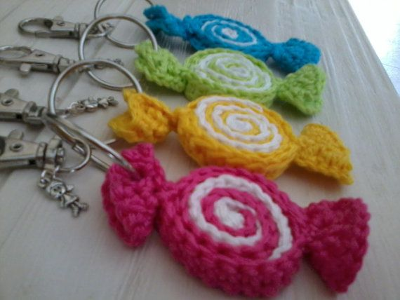 nice keychain or bagchain with candy crochet a by madebymissvlis