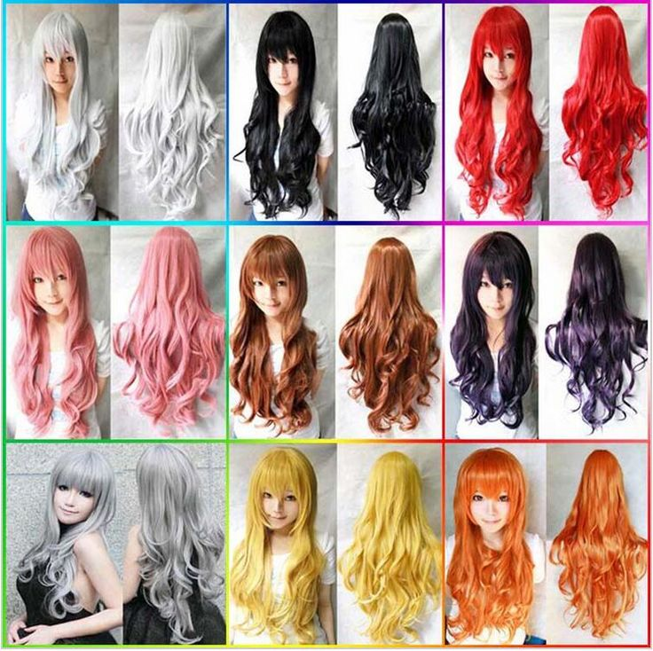 New Black pink white ④ purple woman Curly Wigs ® Synthetic Wig Lolita Anime Wig…