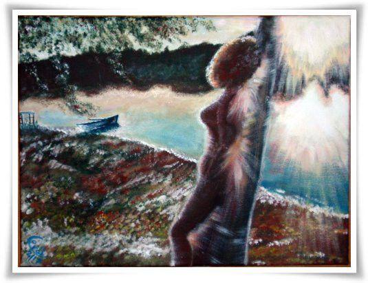 Acrylmalerei - Akt TRÄUMEN AM MOLDAU STAUSEE - ein Designerstück von HOAMELIGundSCHEAN bei DaWanda