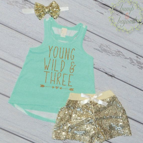 Third Birthday Outfit Girl Young Wild and Three Trendy Girl Clothes Kids…