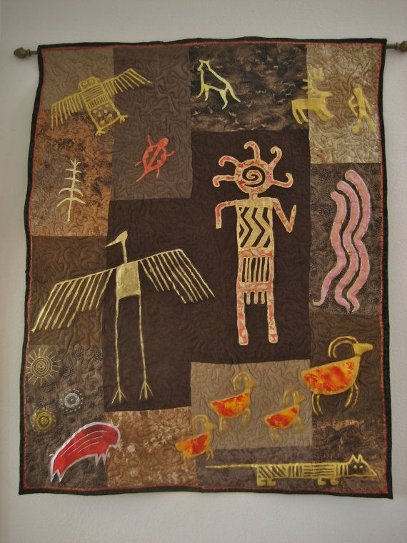 Brown and Gold Southwest Petroglyph Quilt Wall by SouthwestQuilts, $200.00