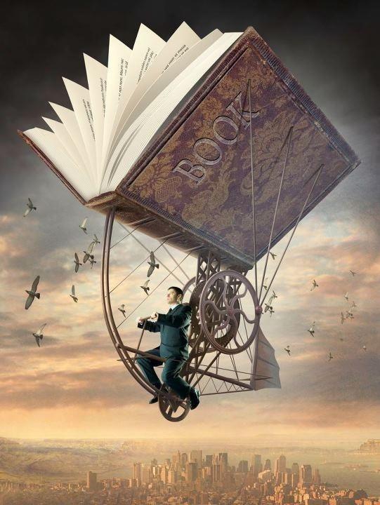 transported by a book © Igor MORSKI (Artist, Poland). Surreal  Steampunk, Art. Man, Flight,  Machine, Gears.   Artist website: http://www.morski.pl/