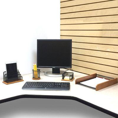 Mind Reader 4 Piece Exec Wood Desk Organizer Set