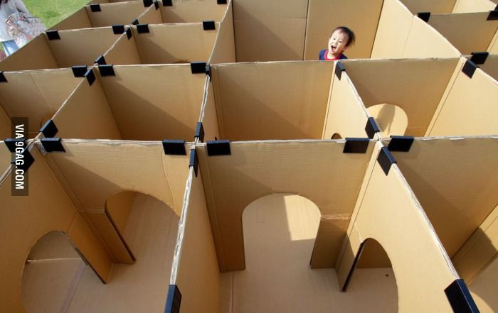 Maze made from cardboard boxes