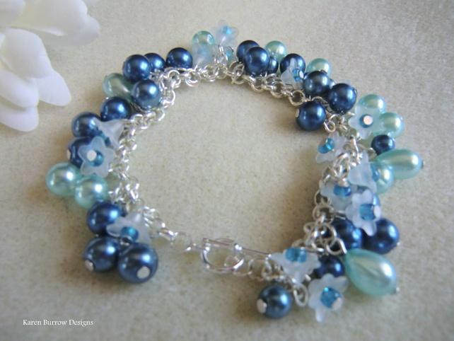 Blue Pearl and flower charm bracelet