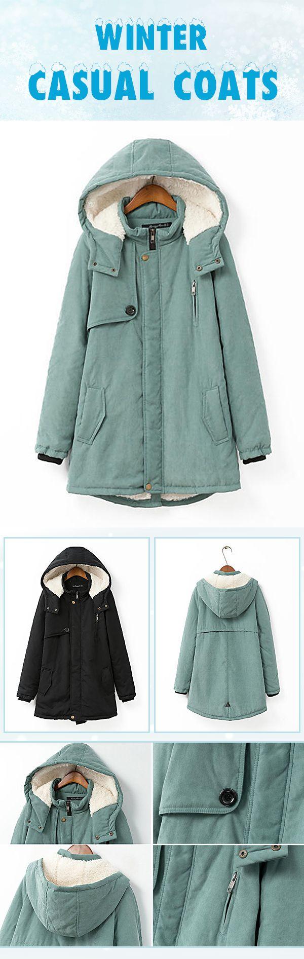 Casual Hooded Pocket Zipper Fly Coats For Women 2