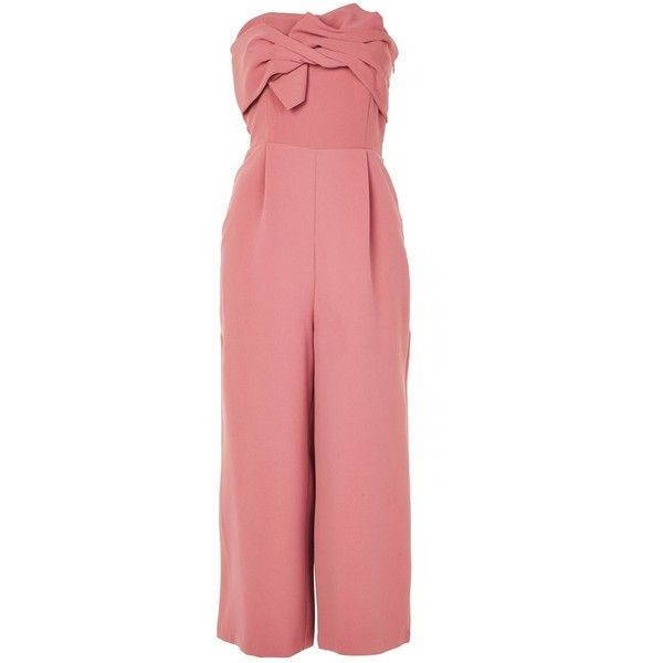 TopShop Tie Bandeau Jumpsuit ($110) ❤ liked on Polyvore featuring jumpsuits, rose, bandeau jumpsuit, red jumpsuit, red wide leg jumpsuit, party jumpsuits and going out jumpsuits