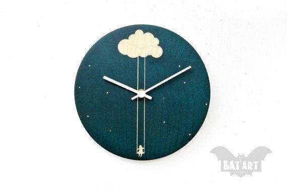 BAT Wall Clock 20cm kids girl swinging cloud  White by BatLab