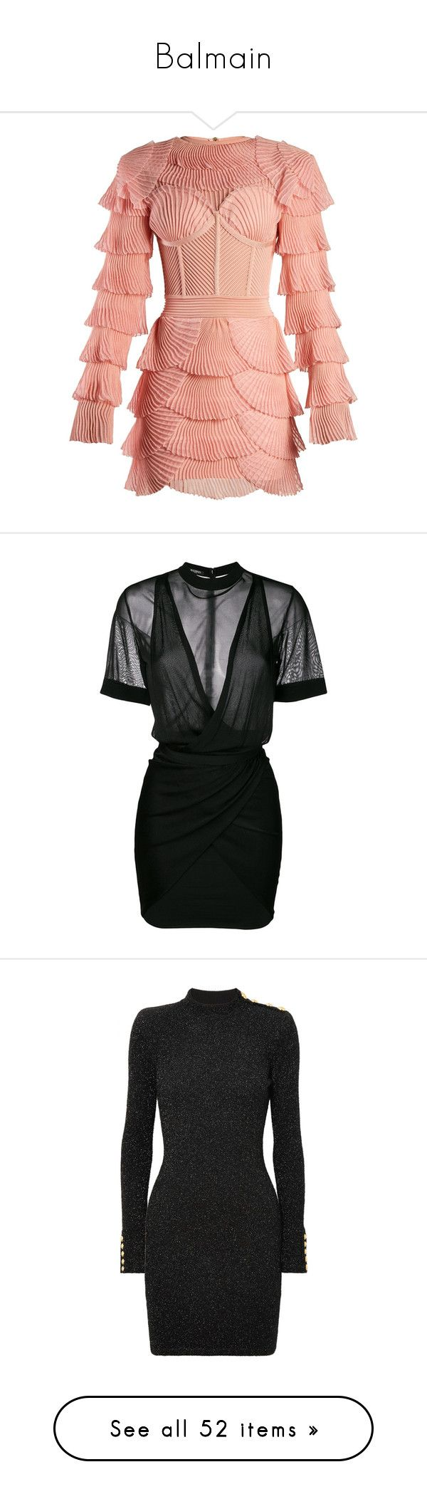 """""""Balmain"""" by adindav ❤ liked on Polyvore featuring dresses, pink, long-sleeve mini dresses, pink mini dress, pink corset, red sheer dress, see through dress, jeans, pants and bottoms"""