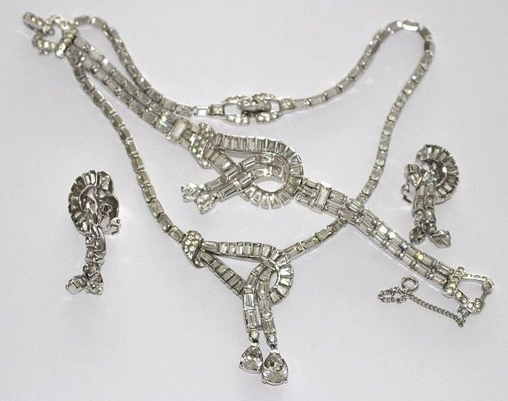 #1648 Mazer Art Deco Rhinestone Necklace Earrings Bracelet Stunning MINT 1949  Exclusively at Lee Caplan Vintage Collection on RubyLane