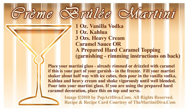 HAPPY NATIONAL CREME BRULEE DAY!!! Celebrate with my CREME BRULEE MARTINI - Click image for the recipe & free recipe card!