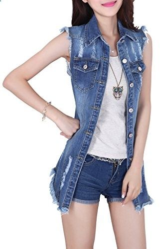 Women's Denim Waistcoat Frayed Sleeveless Outwear Vests 982Dark Blue,X-Large  Go to the website to read more description.