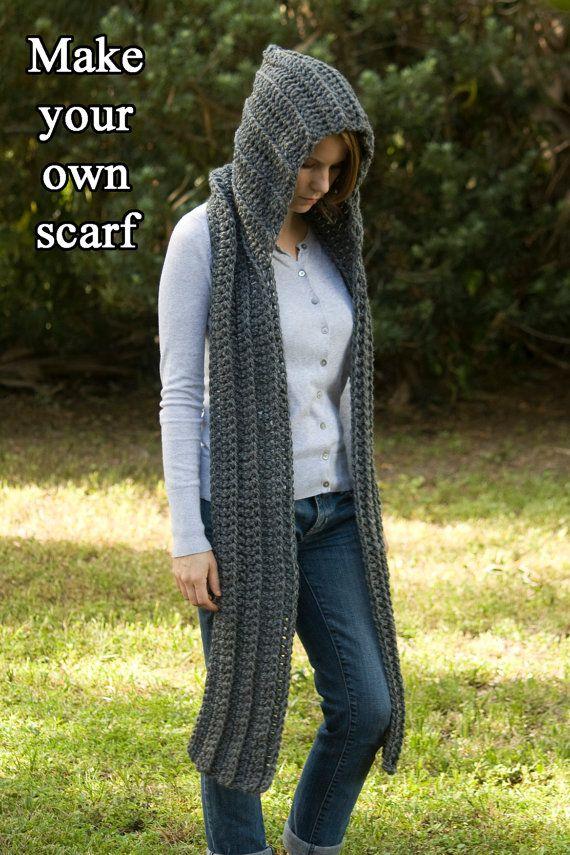 PATRÓN de ganchillo con capucha patrón de bufanda por WellRavelled