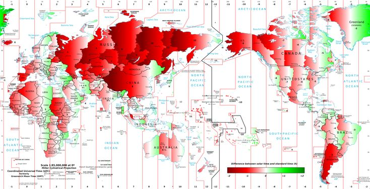 Why Spaniards have dinner so late? A map of the difference between solar time and clock time around the world.