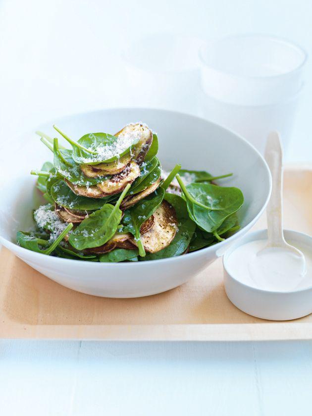 crispy potato salad with creamy lemon dressing