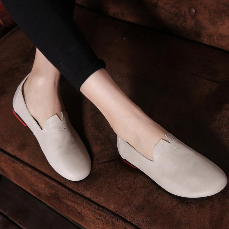 ==> [Free Shipping] Buy Best Retro Women Leather Pink Pumps Slip On Ladies Low Heel Grey Pumps 2017 Fashion Glove Shoes Comfortable Handmade Women Pumps Sale Online with LOWEST Price | 32818983286