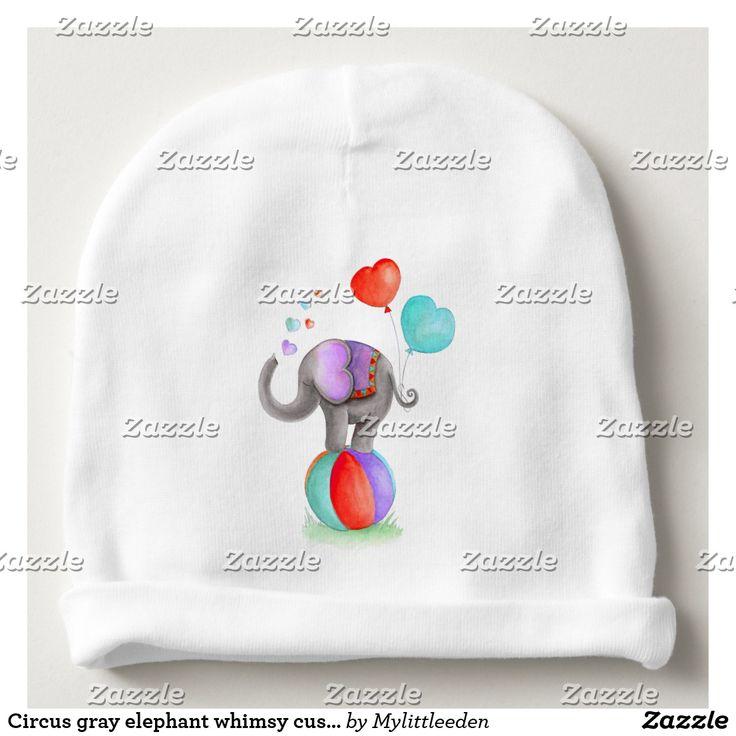 Circus gray elephant whimsy custom baby hat