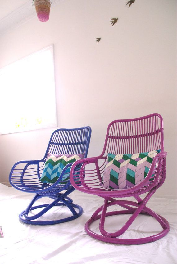 Made To Order   Custom Purple Cane Retro Chair With Vintage Cushion