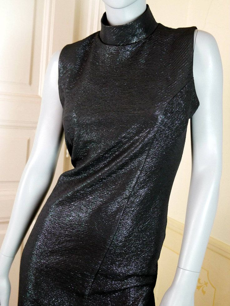 1970s European Vintage Black Evening Dress, Long Black Metallic Formal Dress, Party Dress, Disco Dress: Size 10 US, Size 14 UK by YouLookAmazing on Etsy
