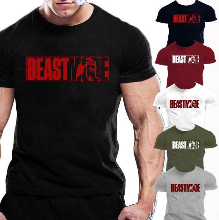 MENS BEAST MODE T-SHIRT GYM BODYBUILDING MOTIVATION TRAINING WORKOUT FIGHTING #Bodybuildingmotivation