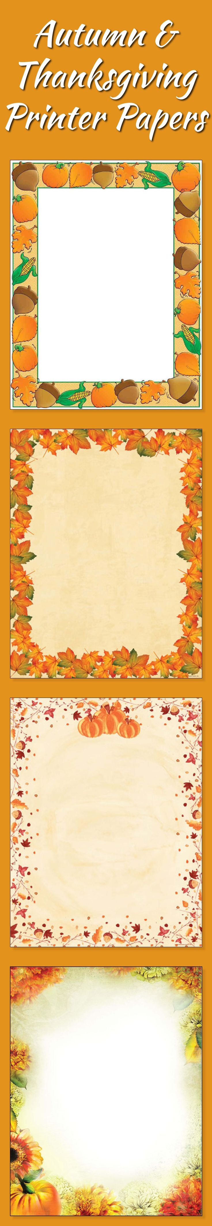 Pick the perfect autumn themed paper for your next Fall, Harvest Festival, Thanksgiving, or Autumn party, BBQ, or event. Create beautiful flyers, invitations, or announcements, right from your computer, using your laser printer, ink jet printer, or copier. http://www.yourofficestop.com/thfapa.html